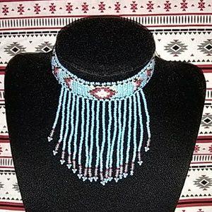 Jewelry - Beaded choker (turquoise blue)